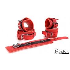 Avalon - EXILE - Cuffs og collar sett rødt og sort glatt lær