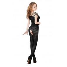 Sexy girl - Catsuit med blonder og netting - Sort