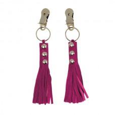 Rimba - Brystklyper med rosa lær dusk