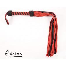 Avalon - MAGIC - Stor Sort og Rød Flogger i Mykt Semsket Lær