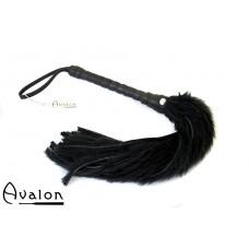 Avalon - GRIFFIN - Flogger med lær og pels, Sort