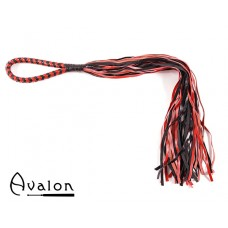 Avalon - MADOC - Sort & rød flogger med loop lærhåndtak