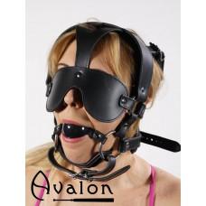 Avalon - Hodeharness i lær med gag og blindfold