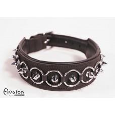 Avalon - Collar med spisse nagler og ringer - Sort