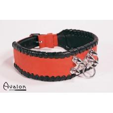 Avalon - Collar med spisse nagler og O-ring - Rød og sort