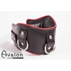 Avalon - Medium bredt collar med god polstring, Sort og rødt