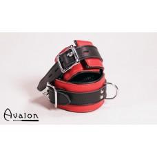 Avalon - Håndcuffs i rød og sort lær