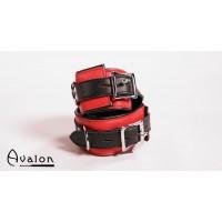 Avalon - Ankelcuffs Rød og sort lær