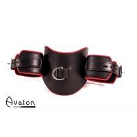 Avalon - MALICIOUS - Collar med Cuffs i Lær Sort og Rødt