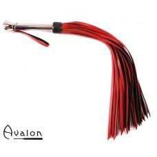 Avalon - HOLY GRAIL - Rød og sort flogger med metallhåndtak med kule