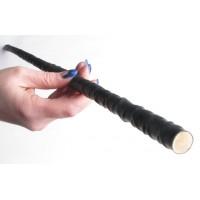 BQS - Rohrstock cane - spanskrør med rillet gummibelegg - Sort
